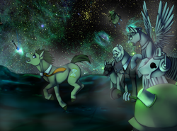 Size: 1600x1187 | Tagged: safe, artist:ninetail-fox, doctor whooves, time turner, cyberman, earth pony, pegasus, pony, angel, cutie mark, dalek, doctor who, female, fleeing, gas mask, male, mare, mask, open mouth, ponified, running, sonic screwdriver, space, stallion, stars, statue, the doctor, the empty child, the silence, weeping angel