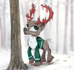 Size: 2000x1892 | Tagged: artist:chopsticks, caribou, cheek fluff, chest fluff, clothes, forest, hoodie, hoof fluff, oc, oc only, safe, snow, snowfall, solo, tree