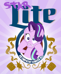 Size: 832x1000 | Tagged: alcohol, artist:pixelkitties, ciderfest, drink, empathy cocoa, female, freaking out, label, mare, pony, safe, solo, starlight glimmer, unicorn
