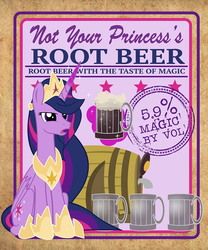 Size: 832x1000 | Tagged: alcohol, alicorn, artist:pixelkitties, barrel, drink, female, label, levitation, magic, magic aura, mare, mug, not your father's root beer, pony, princess twilight 2.0, root beer, safe, solo, spoiler:s09e26, telekinesis, the last problem, twilight sparkle, twilight sparkle (alicorn)