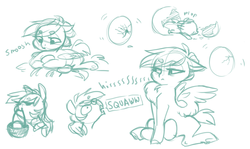 Size: 1205x717 | Tagged: safe, artist:amphoera, oc, pegasus, pony, :c, :t, baby, baby pony, basket, behaving like a bird, bird noises, chest fluff, cute, egg, female, fluffy, foal, frown, glare, hatching, hissing, lidded eyes, mare, mouth hold, newborn, onomatopoeia, simple background, sketch, smiling, solo, speech bubble, spread wings, underhoof, white background, wide eyes, wing fluff, wings