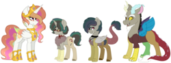 Size: 2053x755 | Tagged: safe, artist:king-justin, discord, princess celestia, hybrid, dislestia, family, female, interspecies offspring, male, offspring, parent:discord, parent:princess celestia, parents:dislestia, shipping, straight