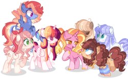 Size: 1280x792 | Tagged: alicorn, artist:basecbitch, artist:sugaryicecreammlp, astralverse, base used, earth pony, female, group, luster dawn, magical lesbian spawn, mare, next generation, oc, oc:apple biscuit, oc:astral star, oc:chocolate pie, oc:rainbow wind, oc:royal crown, oc:sweet cake, offspring, parent:cheese sandwich, parent:pinkie pie, parent:rainbow dash, parents:cheesepie, parent:soarin', parents:soarindash, parents:twidash, parent:twilight sparkle, pegasus, pony, safe, simple background, transparent background, unicorn, wingding eyes