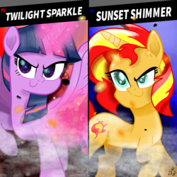 Size: 2048x2048 | Tagged: safe, artist:n3ro 182, sunset shimmer, twilight sparkle, alicorn, pony, unicorn, equestria girls, crossover, dreamworks face, inspired, nintendo, nintendo switch, super smash bros., super smash bros. ultimate, twilight sparkle (alicorn), video game, vs.