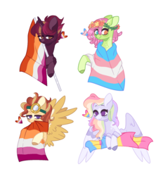 Size: 1456x1640 | Tagged: safe, artist:corporalvortex, artist:nocturnal-moonlight, oc, oc:evening star, oc:golden winds, oc:rainbow confetti, oc:serene grace, earth pony, pegasus, pony, unicorn, base used, blaze (coat marking), colored ears, colored wings, female, flag, flag pole, floral head wreath, flower, freckles, goggles, lesbian, lesbian pride flag, lidded eyes, magical gay spawn, magical lesbian spawn, multicolored hair, offspring, pansexual, pansexual pride flag, parent:fluttershy, parent:pinkie pie, parent:rainbow dash, parent:sunburst, parent:tempest shadow, parent:tree hugger, parent:twilight sparkle, parent:zephyr breeze, parents:flutterhugger, parents:pinkiedash, parents:tempestlight, parents:zephyrburst, pride, pride flag, rainbow hair, simple background, socks (coat marking), star (coat marking), trans girl, transgender, transgender pride flag, transparent background, wings