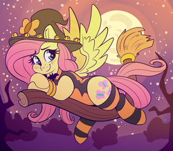 Size: 3064x2678 | Tagged: safe, artist:graphene, fluttershy, pegasus, pony, adorasexy, blushing, broom, clothes, cute, female, flying, flying broomstick, full moon, hat, high res, leotard, mare, moon, sexy, shyabetes, smiling, socks, solo, spread wings, striped socks, wings, witch hat