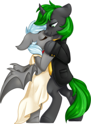 Size: 1370x1850 | Tagged: artist:kellythedrawinguni, bat pony, clothes, dancing, dress, female, male, my little pony, necktie, oc, oc:intrepid scholar, oc only, oc:winter rose, pony, safe, stand, standing, suit, tux, tuxedo, unicorn