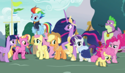 Size: 1200x700 | Tagged: safe, artist:decprincess, edit, edited screencap, screencap, applejack, fluttershy, li'l cheese, luster dawn, pinkie pie, rainbow dash, rarity, spike, twilight sparkle, alicorn, the last problem, spoiler:s09e26, mane seven, mane six, older, older applejack, older fluttershy, older mane 6, older mane 7, older pinkie pie, older rainbow dash, older rarity, older spike, older twilight, time paradox, twilight sparkle (alicorn)