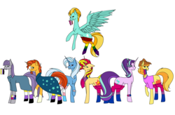 Size: 8562x5610 | Tagged: safe, artist:icey-wicey-1517, artist:moonlight0shadow0, color edit, edit, braeburn, lightning dust, maud pie, starlight glimmer, sunburst, sunset shimmer, trixie, earth pony, pegasus, pony, unicorn, :p, absurd resolution, beard, bisexual pride flag, blaze (coat marking), bracelet, clothes, collaboration, colored, cowboy hat, dress, facial hair, female, flying, gay pride flag, glasses, group, hat, jewelry, lesbian pride flag, lgbt, lgbt headcanon, male, mare, mouth hold, nonbinary, nonbinary maud pie, nonbinary pride flag, nonbinary sunburst, pride, pride flag, pride flag bracelet, pride flag scarf, pride ponies, pride socks, rainbow socks, raised hoof, raised leg, robe, scarf, shirt, simple background, socks, stallion, striped socks, sunburst's glasses, sunburst's robe, t-shirt, thigh highs, tongue out, trans girl, trans trixie, transgender, transgender pride flag, transparent background, wall of tags, wristband