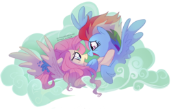 Size: 1280x817 | Tagged: artist:virtualkidavenue, bust, eye contact, female, flutterdash, fluttershy, lesbian, looking at each other, mare, older, older fluttershy, older rainbow dash, pegasus, pony, profile, rainbow dash, safe, shipping, spoiler:s09e26, spread wings, teary eyes, the last problem, wings