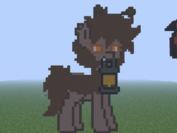 Size: 1024x768 | Tagged: safe, artist:artsy46, oc, oc only, oc:monty light, moth, mothpony, original species, pony, pony town, female, fleshbaby, grass, lantern, mare, minecraft, minecraft pixel art, photo, pixel art, solo