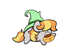 Size: 2560x1920 | Tagged: safe, artist:kimjoman, copper top, pony, chubbie, cute, eyes closed, hat, pumpkin bucket, simple background, transparent background, witch hat, ych result