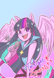 Size: 834x1200 | Tagged: alicorn, anime, artist:aizy-boy, cute, equestria girls, female, gradient background, microphone, open mouth, ponied up, rainbow rocks, safe, singing, solo, twiabetes, twilight sparkle, twilight sparkle (alicorn)