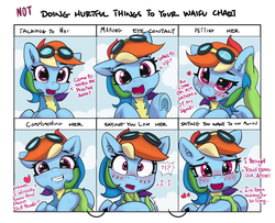 Size: 1600x1300 | Tagged: safe, artist:pabbley, rainbow dash, oc, oc:anon, human, pegasus, pony, blushing, clothes, comic, crying, cute, dashabetes, dialogue, doing loving things, ear scratch, exclamation point, female, goggles, happy, human male, interrobang, looking at you, male, mare, meme, not doing hurtful things to your waifu, offscreen character, open mouth, petting, question, question mark, smiling, solo, tears of joy, underhoof, uniform, waifu, waifu chart, wonderbolts uniform