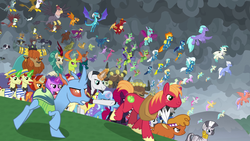 Size: 1920x1080 | Tagged: safe, screencap, amethyst star, ballista, big macintosh, billy (dragon), chancellor neighsay, clump, flam, fleetfoot, flim, fume, gabby, garble, gilda, giselle, grampa gruff, irma, lemon hearts, little strongheart, minuette, moondancer, natalya, night light, pharynx, prince rutherford, princess ember, prominence, rain shine, soarin', sparkler, spear (dragon), spitfire, stellar flare, tempest shadow, thorax, trixie, twilight velvet, zecora, changedling, changeling, classical hippogriff, dragon, earth pony, hippogriff, kirin, pegasus, pony, yak, zebra, the ending of the end, dragoness, female, flim flam brothers, king thorax, male, mare, prince pharynx, stallion, unnamed griffon, unnamed hippogriff