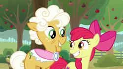 Size: 1280x720 | Tagged: safe, screencap, apple bloom, goldie delicious, pony, going to seed, apple, apple tree, tree