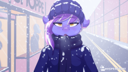 Size: 1280x720 | Tagged: anthro, artist:whisperfoot, beanie, blushing, breath, city, clothes, cold, downtown, dummy, ear blush, earth pony, freckles, hat, jacket, long mane, male, multicolored hair, oc, oc:berry frost, oc only, open mouth, red nose, safe, scarf, shop, snow, snowfall, solo, stallion, town, visible breath, walking, winter