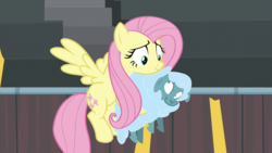 Size: 2000x1124 | Tagged: carrying, duo, female, fluttershy, flying, growing up is hard to do, looking at each other, mare, pegasus, pony, safe, screencap, sheep, spoiler:s09e22, tiny ewes