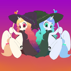 Size: 1024x1024 | Tagged: artist needed, broom, duo, female, halloween, hat, holiday, mare, oc, oc only, safe, source needed, witch, witch hat, witch's broom