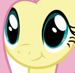 Size: 421x408 | Tagged: safe, fluttershy, pony, close-up, face of mercy, simple background, smiling, solo, transparent background