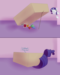 Size: 1875x2349 | Tagged: artist:sixes&sevens, bait, behaving like a cat, box, comic, cute, descriptive noise, female, gem, horse noises, inktober, inktober 2019, mare, pony, rarara, raribetes, raricat, rarity, safe, solo, spool, tail, thread, trap (device), unicorn