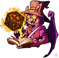 Size: 1000x983 | Tagged: safe, artist:atryl, oc, oc:dusk rhine, anthro, bat pony, book, cute, d20, dungeons and dragons, glasses, glow, male, pen and paper rpg, rpg, simple background, solo, transparent background, wizard