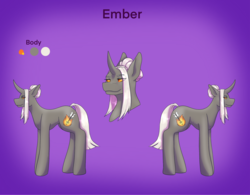 Size: 2522x1963 | Tagged: artist:blacksky1113, colored sclera, curved horn, female, horn, mare, oc, oc:ember arrow, oc only, pony, reference sheet, safe, solo, unicorn