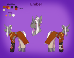 Size: 2522x1963 | Tagged: alternate version, armor, artist:blacksky1113, bandage, belt, clothes, colored sclera, curved horn, ear piercing, earring, female, gauntlet, gloves, horn, jewelry, mare, oc, oc:ember arrow, oc only, pants, piercing, pony, pouch, reference sheet, safe, skirt, solo, unicorn
