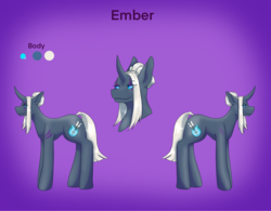 Size: 2522x1963 | Tagged: alternate version, artist:blacksky1113, colored sclera, curved horn, female, horn, mare, oc, oc:ember arrow, oc only, pony, reference sheet, safe, solo, tattoo, unicorn