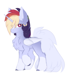Size: 1074x1140 | Tagged: alicorn, artist:sketch-fluffy, magical lesbian spawn, male, oc, oc:nao, offspring, parent:rainbow dash, parents:twidash, parent:twilight sparkle, pony, safe, simple background, solo, stallion, white background