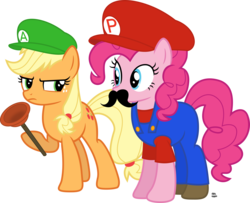 Size: 2200x1783 | Tagged: annoyed, applejack, artist:anime-equestria, cap, clothes, costume, crossover, duo, earth pony, facial hair, female, hat, luigi, luigi's hat, male, mario, mario and luigi, mario & luigi, mariopie, mario's hat, moustache, nintendo, overalls, pinkie pie, plumber, plunger, pony, safe, shirt, shoes, simple background, straight, super mario bros., transparent background, undershirt, vector