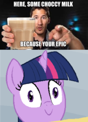 Size: 680x937 | Tagged: caption, chocolate, chocolate milk, everything is ruined, female, grammar error, image macro, mare, markiplier, meme, milk, misspelling, misspelling of you're, pure unfiltered evil, safe, smiling, text, this will end in spilled milk, this will end in tears, this will not end well, twilight sparkle