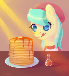 Size: 1072x1189 | Tagged: safe, artist:ptiza, barley barrel, pegasus, pony, rainbow roadtrip, female, filly, food, maple syrup, pancakes, solo
