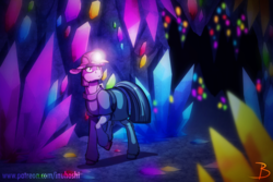 Size: 1772x1181 | Tagged: artist:inuhoshi-to-darkpen, cave, clothes, crystal, dress, earth pony, female, floppy ears, gem cave, glowing gems, helmet, mare, maud pie, mine, pony, safe, solo