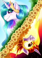 Size: 1800x2520 | Tagged: alicorn, artist:8bitgalaxy, bust, crown, daybreaker, evil, female, grin, helmet, jewelry, mane of fire, mare, pony, princess celestia, regalia, safe, smiling, solo
