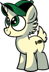 Size: 280x412 | Tagged: safe, artist:vgc2001, idw, pony, unicorn, spoiler:comic, spoiler:comicm08, baseball cap, cap, colt, disney, green eyes, hat, louie, louie (pony), male, musical instrument, ponified, trumpet