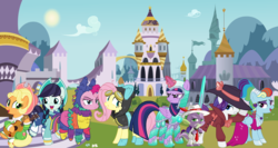 Size: 1485x792 | Tagged: alicorn, alternate hairstyle, apple chord, applejack, armor, artist:a4r91n, artist:dragonchaser123, canterlot, clothes, coloratura, detective rarity, dress, female, fluttershy, gangster, hat, lesbian, mane seven, mane six, megaradash, musical instrument, piñata, pinkie pie, pinkñata, rainbow dash, rainbow dash always dresses in style, rarajack, rarity, safe, shipping, sparkle's seven, spike, spoiler:s09e04, sword, twilight sparkle, twilight sparkle (alicorn), weapon