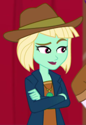 Size: 415x600 | Tagged: safe, screencap, dakota verde, dirk thistleweed, equestria girls, equestria girls series, how to backstage, spoiler:eqg series (season 2), cropped, crossed arms, female, hat, male, offscreen character, raised eyebrow