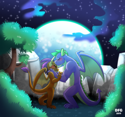 Size: 3550x3330 | Tagged: safe, artist:dragonfoxgirl, smolder, spike, dragon, the last problem, blushing, commission, dragoness, eyes closed, female, gigachad spike, kiss on the head, kissing, male, moon, older, older smolder, older spike, shipping, smiling, spolder, straight, winged spike, wings