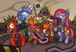Size: 1697x1161 | Tagged: armor, artist:cazra, baseball bat, earth pony, fallout equestria, grenade, gun, magic, mask, nail bat, oc, oc:blood, pool cue, raider, raider armor, raiders, road, safe, shotgun, telekinesis, unicorn, wasteland, weapon