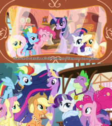 Size: 1280x1440 | Tagged: safe, artist:hakunohamikage, edit, edited screencap, screencap, applejack, fluttershy, pinkie pie, rainbow dash, rarity, spike, twilight sparkle, alicorn, dragon, earth pony, pegasus, pony, unicorn, comic:one terrible choice, the last problem, spoiler:s09e26, applejack's hat, bags under eyes, best friends, clothes, coat, comparison, cover, cowboy hat, crown, eyes closed, eyeshadow, female, flying, folded wings, freckles, granny smith's scarf, hat, hoof shoes, jewelry, makeup, male, mane seven, mane six, mare, older, older applejack, older fluttershy, older mane 6, older mane 7, older pinkie pie, older rainbow dash, older rarity, older spike, older twilight, open mouth, ponyville, poofy mane, princess twilight 2.0, raised hoof, regalia, royal advisor, skunk stripe, smiling, spread wings, time skip, twilight sparkle (alicorn), uniform, winged spike, wings
