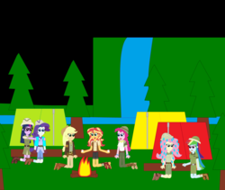Size: 5784x4872 | Tagged: applejack, artist:eli-j-brony, campfire, camping, clothes, equestria girls, explorer outfit, fluttershy, food, hat, humane five, humane seven, humane six, marshmallow, mushroom, pinkie pie, pith helmet, rainbow dash, rarity, safe, sci-twi, sunset shimmer, tents, twilight sparkle, waterfall