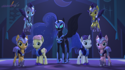 Size: 3840x2160 | Tagged: safe, artist:melodiousmarci, applejack, fluttershy, nightmare moon, pinkie pie, rainbow dash, rarity, spitfire, alicorn, pegasus, pony, unicorn, 3d, alternate timeline, bat wings, flying, grin, group, guard, horn, looking at you, lunar guard armour, night, night maid fluttershy, night maid rarity, nightmare takeover timeline, raised hoof, revamped ponies, smiling, source filmmaker, wings