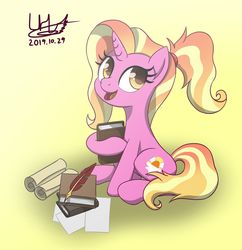 Size: 1280x1323   Tagged: safe, artist:livehotsun, luster dawn, pony, unicorn, the last problem, book, cute, female, happy, lusterbetes, mare, open mouth, paper, quill, scroll, signature, sitting, smiling, solo