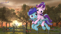 Size: 3840x2160 | Tagged: safe, artist:melodiousmarci, starlight glimmer, oc, oc:sierra nightingale, pegasus, pony, unicorn, 3d, :p, canon x oc, duo, female, fence, flower, flying, glimmgale, mare, ponies riding ponies, riding, scenebuild, source filmmaker, sunset, tongue out, tree