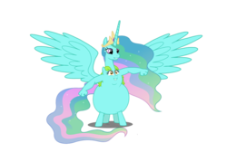 Size: 1057x756   Tagged: safe, princess celestia, whoa nelly, alicorn, centaur, taur, armpits, arms, belly face, chubbylestia, conjoined, fat, fusion, merge, multiple heads, not salmon, smiling, spread wings, suddenly hands, two heads, two heads are better than one, wat, we have become one, why, wide eyes, wings