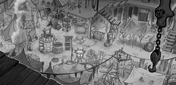 Size: 1920x928 | Tagged: safe, artist:luke buxton, fish, my little pony: the movie, the art of my little pony: the movie, axe, brazier, concept art, grayscale, klugetown, market, monochrome, no pony, pennant, propeller, rug, sign, staff, stall, sword, weapon, well