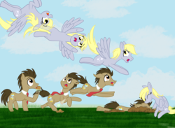 Size: 2245x1646   Tagged: safe, artist:sixes&sevens, derpy hooves, ditzy doo, doctor whooves, time turner, crash, dirt, doctorderpy, faceplant, female, food, ice cream, inktober, inktober 2019, kissing, male, necktie, outdoors, panicking, shipping, straight, time lapse