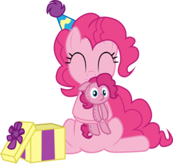 Size: 1841x1762 | Tagged: dead source, safe, artist:creativeli3, pinkie pie, pony, cute, diapinkes, eyes closed, female, hat, hug, party hat, plushie, simple background, solo, transparent background