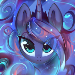 Size: 2001x2001   Tagged: safe, artist:mirroredsea, princess luna, alicorn, pony, bust, cute, ethereal mane, eye clipping through hair, female, floating head, frown, looking at you, lunabetes, mare, portrait, solo